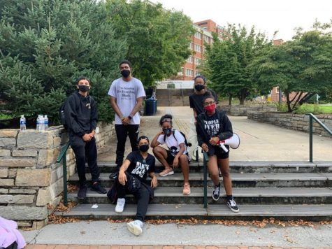 "The Black At App State Collective at the ""Wake the Chancellor"" march against injustice Aug. 31, a month after releasing their initial demands to the university."