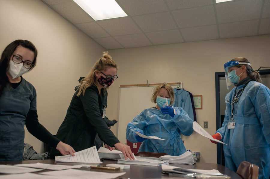 The team of nurses volunteered for Wednesday's efforts of administering the Moderna vaccine, starting at 9 a.m. and lasting until 4 p.m.