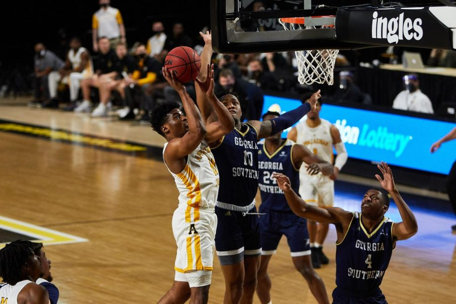 App State sophomore wing Donovan Gregory goes up against Georgia Southern during the Mountaineers' 66-63 win on Jan. 8 at the Holmes Center.