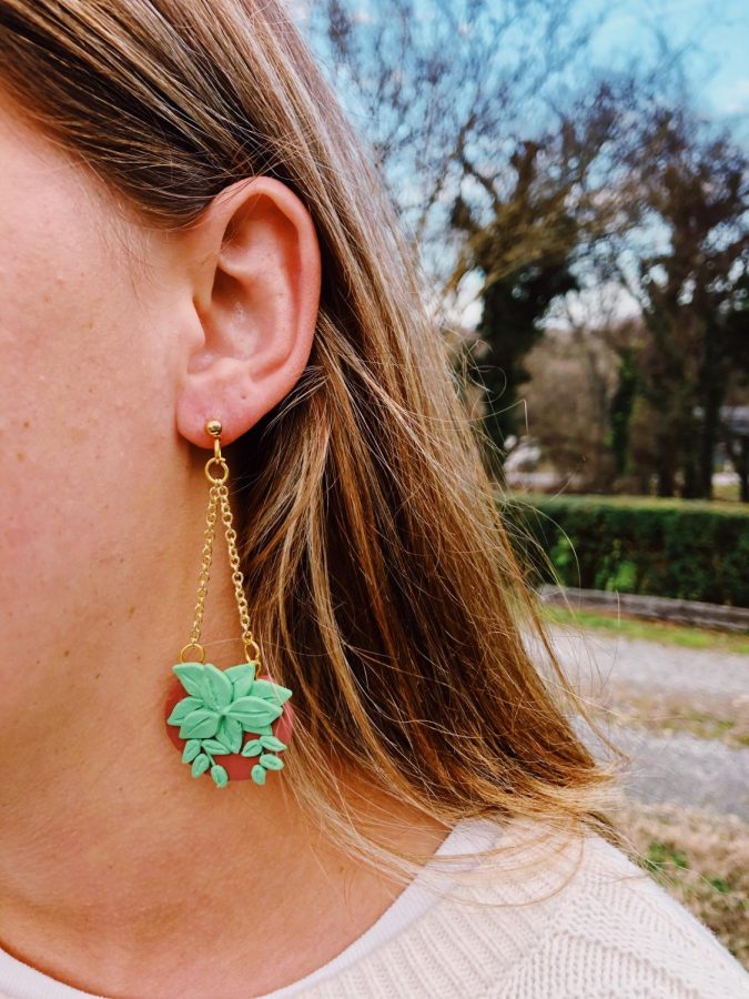 Hanging plant earrings, made by Katie Duckett, a student artist at App State. Artists at App State are the fourth set of artists to join the Student-Made Store, an online marketplace that sells student creations.