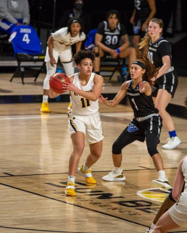 App State freshman guard Faith Alston looks to make a play on Feb. 5 against Georgia State in Boone. Alston finished with 2 points, 4 rebounds and 3 assists in the loss.