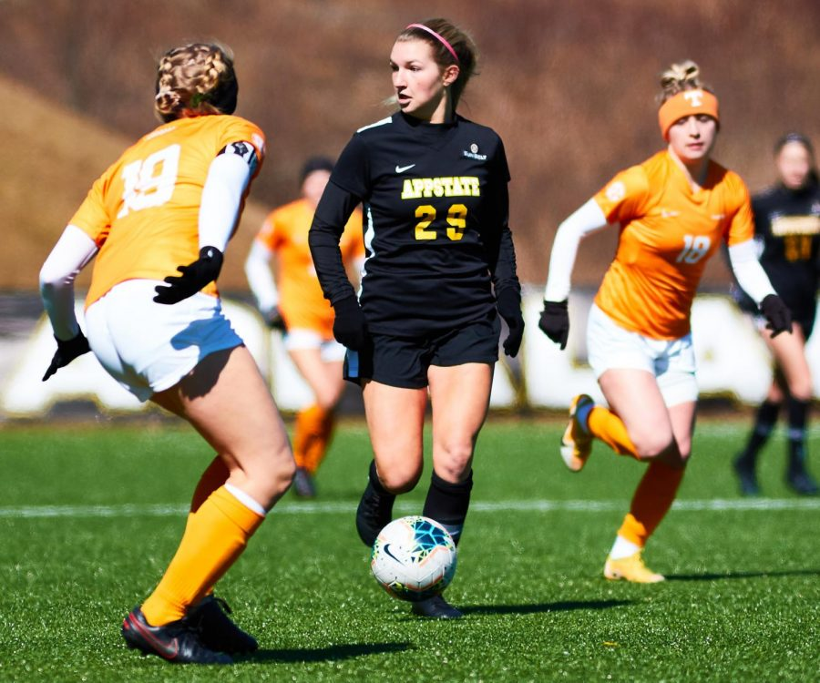 App State freshman midfielder Kaitlyn Little looks to make a play during the Mountaineers' loss to Tennessee on Saturday in Boone.