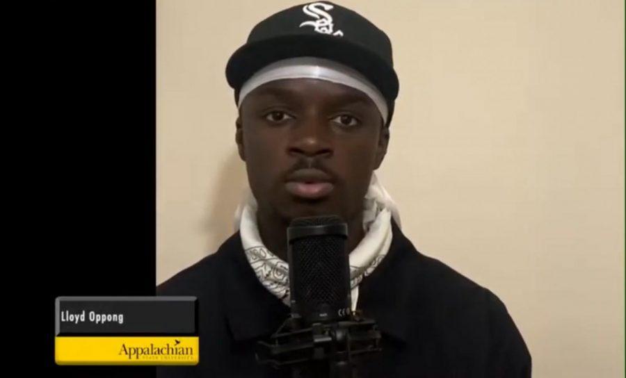 Lloyd+Oppong+reading+his+poem%2C+%E2%80%9CHammurabi%27s+Code%2C%E2%80%9D+during+the+Hayes+School+of+Music%E2%80%99s+Black+History+Month+celebration.+