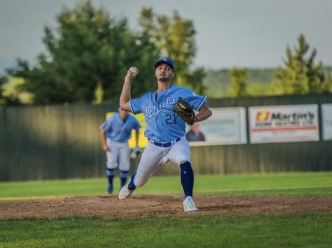 Former App State pitcher Kaleb Bowman pitches during a game with the Fredericton Royals, a member of the New Brunswick Senior Baseball League in Canada. In 2019 with the Mountaineers, Bowman set a program record for most innings in a season by a reliever.