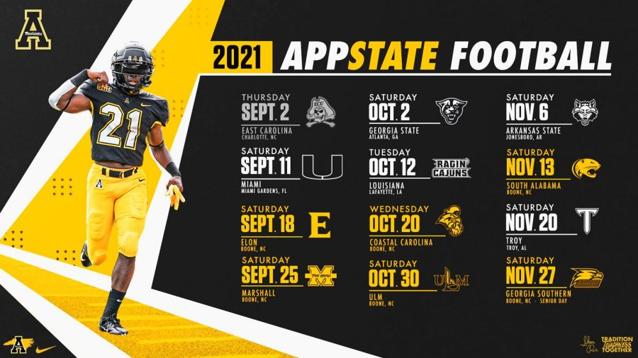 App State football announced its full schedule March 1. The Mountaineers are set to play in two NFL stadiums to open the year, which head coach Shawn Clark described as
