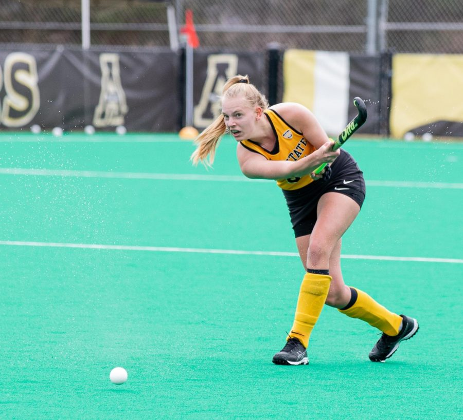 App State senior midfielder and two-time first team all-Sun Belt honoree Veerle Van Heertum takes a shot during Saturday's 1-0 win over Ball State at Brandon and Erica M. Adcock Field. The Mountaineers won their second game in a row Monday against Saint Louis.