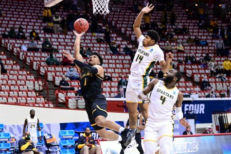 App State senior guard Justin Forrest goes up against Norfolk State during Thursday night's NCAA First Four game in Assembly Hall. Forrest had a team-high 18 points, but the Mountaineers ultimately lost to the Spartans 54-53.