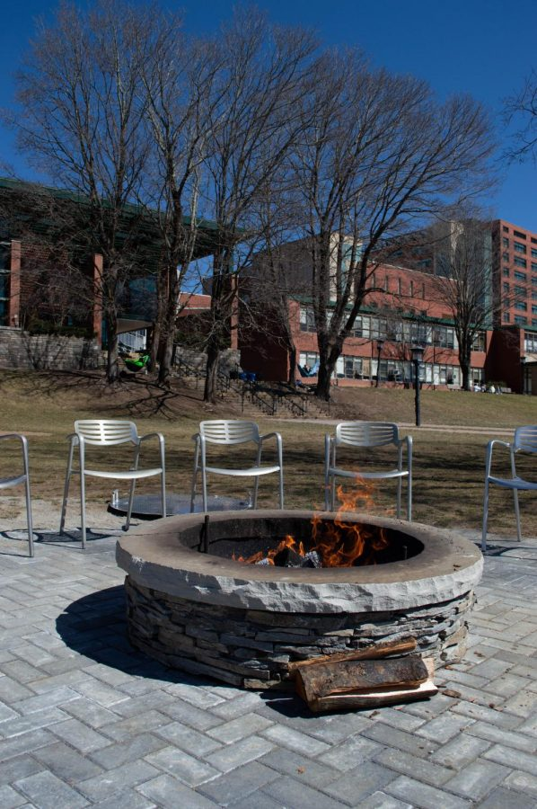 A fire pit was recently added to Sanford Mall for students to gather around. This is one of the many COVID-safe activities the university has added this semester.