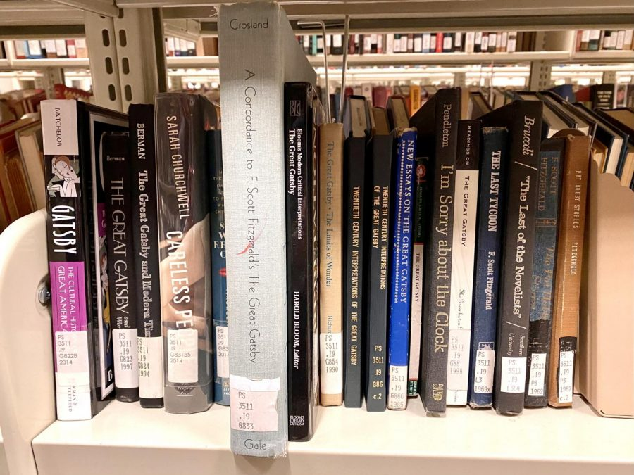 "Books on ""The Great Gatsby"" at Anne Belk Library. ""The Great Gatsby"" is one of the American classics that visiting assistant professor Anne Muenchrath is researching."