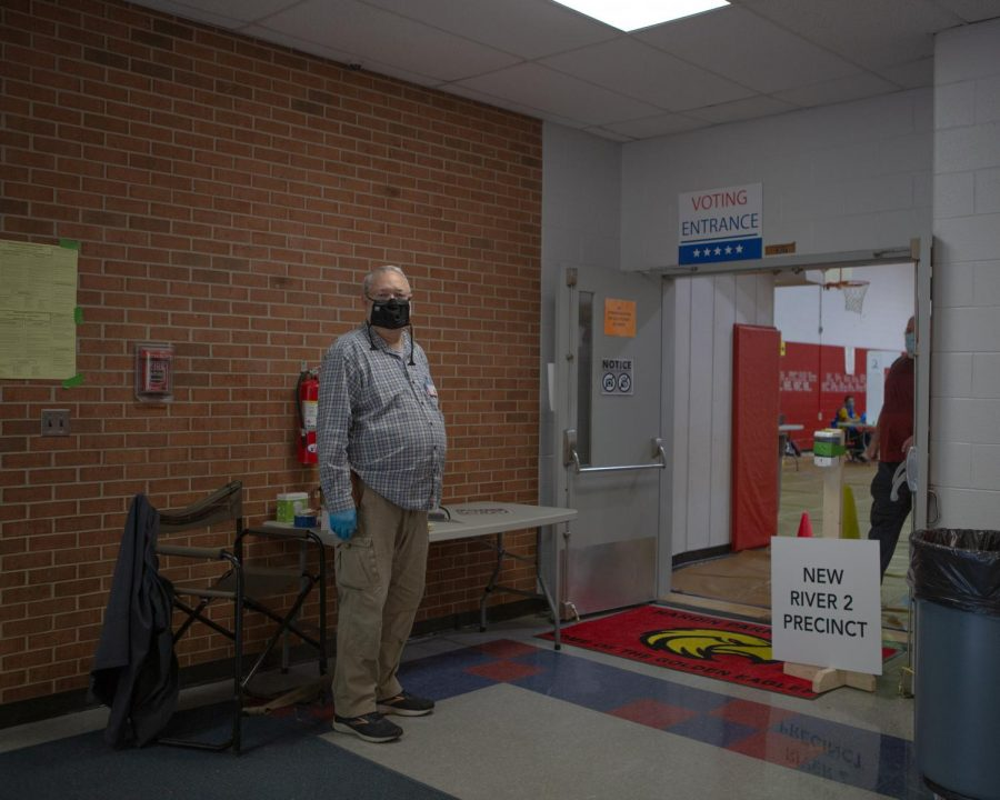 Avril Sale working the polling site at Hardin Park where two precincts were grouped together due to COVID-19 restrictions. Sale arrived in the area in 1967 with his attendance at App State. He then taught 33 years.