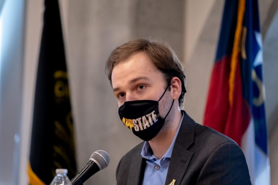 Adam Zebzda, candidate for SGA student body president, on Monday during the SGA debate.