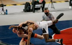 App State junior 149-pounder Jonathan Millner in action during his SoCon title match win over Campbell's Joshua Heil. In St. Louis March 18-20, Millner became the eighth Mountaineer of all time to earn all-American recognition at the NCAA Championships.
