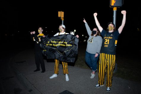App State students and fans celebrate on King Street in Boone following the Mountaineers