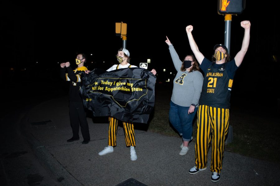"App State students and fans celebrate on King Street in Boone following the Mountaineers' Sun Belt tournament championship win Monday night in Pensacola, Florida. ""I'm just really happy for our players that they get to experience the NCAA tournament,"" second-year head coach Dustin Kerns said."