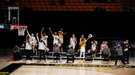 The App State bench celebrates during a loss to Troy Jan. 29 at the Holmes Center in Boone. The Mountaineers won two Sun Belt tourney games on a run to the conference semifinals, before falling to East division No. 1 seed Troy 63-60 Sunday in Pensacola, Florida.