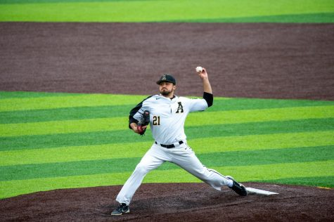 App State junior lefty Tyler Tuthill picked up his first win of the season in the Mountaineers home opening 6-2 win over NC A&T Saturday in Boone. Tuthill allowed two runs off three hits over seven innings while striking out three in the victory.