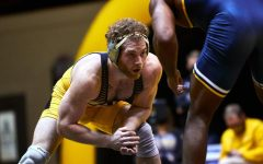 App State redshirt senior Thomas Flitz stares down his opponent before the Senior Day match against Chattanooga begins. Flitz finished the day 2-0, also securing a victory over Presbyterian.