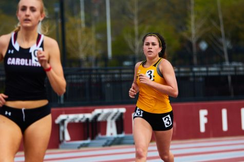 App State freshman track athlete Bianca Copeman in action at the Weems Baskin Invitational March 27 in Columbia, SC. Earlier in the season in her first collegiate meet, she broke into the App State record books, finishing the 1000-meter run in the sixth fastest time in school history.