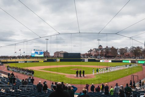 "App State and Charlotte faced off in the first game ever played at the new $52 million minor league stadium in Kannapolis. ""It was an honor to get to play the first game here. It's an extremely beautiful ballpark,"" Mountaineers head coach Kermit Smith said."