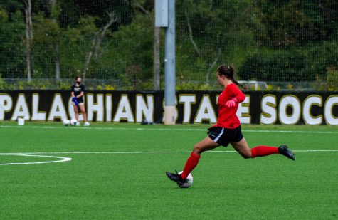 App State sophomore goalkeeper Kerry Eagleston takes a free kick against Pitt this fall. She recorded six shutouts this season, just one away from tying the school record.