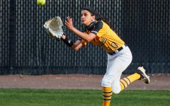 App State senior outfielder Gabby Buruato makes a play in the Mountaineers' win over UNCG April 7 in Boone. Buruato has been locked in at the plate this season, leading the team with a .370 batting average, good for No. 10 in the Sun Belt.