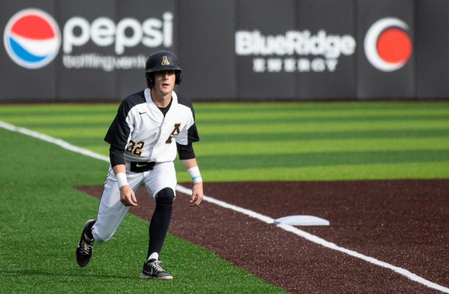 App State junior utility man Andrew Terrell looks toward the plate after rounding third against NC A&T March 13 in Boone. He leads the Mountaineers with seven stolen bases on the season.