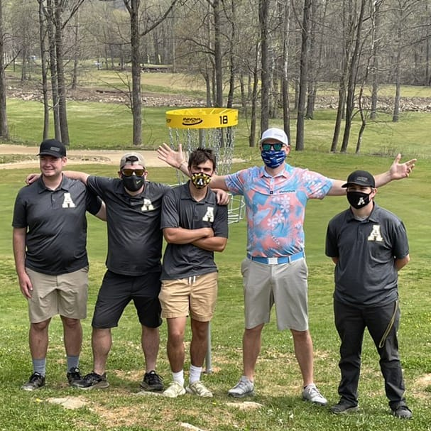 Members of the App State disc golf team with App State alum and current pro disc golfer Jeremy Koling at the 2021 College Disc Golf National Championship in Marion, NC. Pictured from left: Nick Fox, club president James Halligan, Matt DaCosta, Jeremy Koling and Marc Anderson.