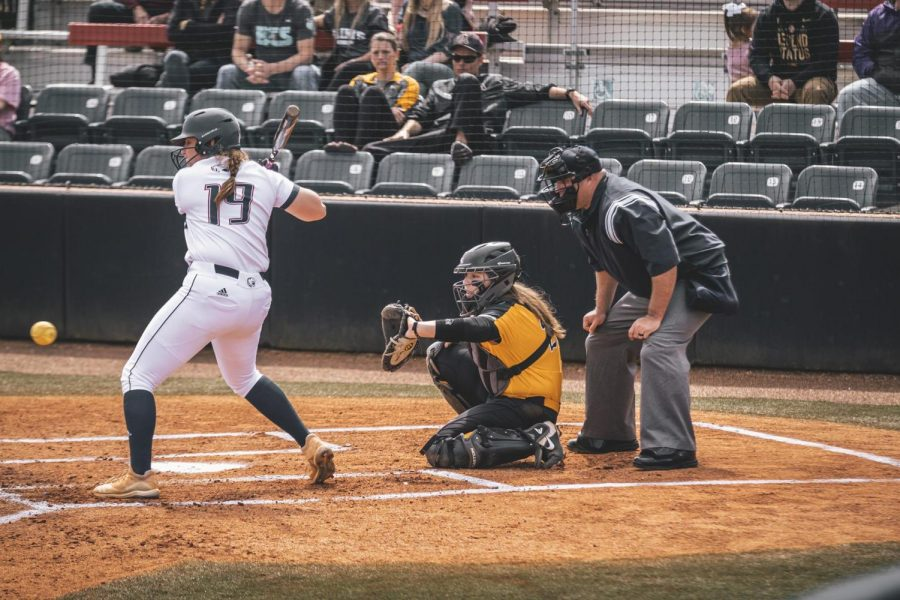 App State senior catcher (right) Baylee Morton behind the plate in a game against South Alabama this season. Since her freshman year, Morton has been a big part of the turnaround of the softball program.