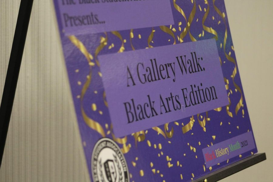 The sign for the BSA Black Art Gallery Walk in the Plemmons Student Union.