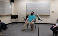 """On Tuesday nights, the trumpet studio hosts a """"master class,"""" now offered virtually, where students can show up with pieces they are working on and receive additional feedback from professors and other students. Lipsette and two other students often reserve a practice room in Hayes School of Music to attend the virtual master class in a small, socially distanced group."""