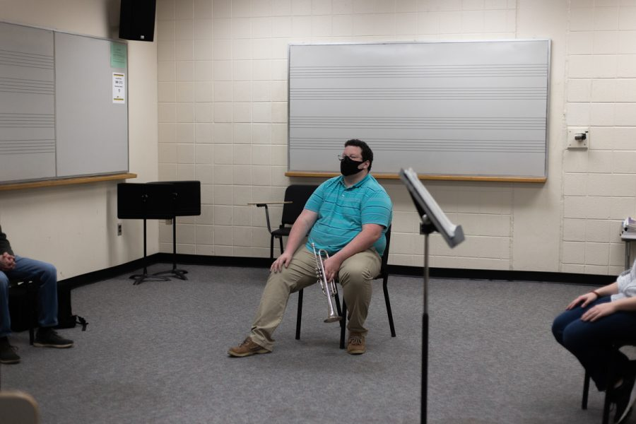 "On Tuesday nights, the trumpet studio hosts a ""master class,"" now offered virtually, where students can show up with pieces they are working on and receive additional feedback from professors and other students. Lipsette and two other students often reserve a practice room in Hayes School of Music to attend the virtual master class in a small, socially distanced group."