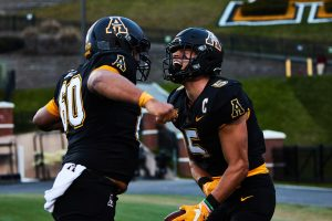 After the 2020 season, App State senior wide receiver Thomas Hennigan (right) opted to utilize his extra year of eligibility granted by the NCAA due to complications from the pandemic. Former teammate Noah Hannon (left) elected to move on from App State.