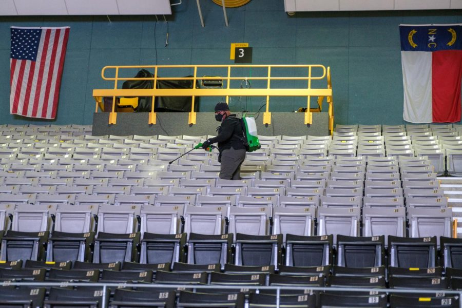 Between ceremonies, cleaning crews spent time sanitizing the Convocation Center to help prevent the spread of COVID-19.