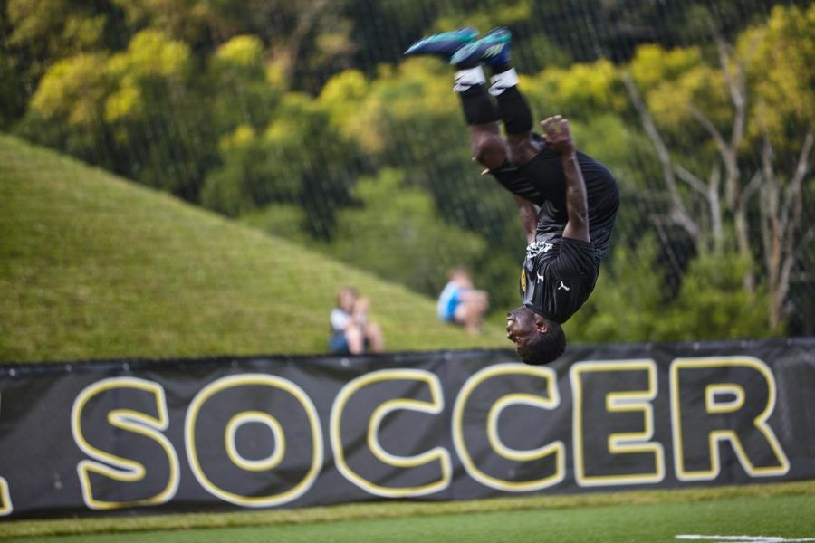 Former App State soccer player Kelvin Mulinya celebrates after putting Appalachian FC on top 1-0 in the first half. Mulinya finished the game with one goal and one assist in his second start at home.