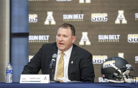 App State football head coach Shawn Clark responds to questions at Sun Belt Media Day in New Orleans. Clark enters his second year as head coach of the Mountaineers after opening his head coaching career with a 9-3 opening season.