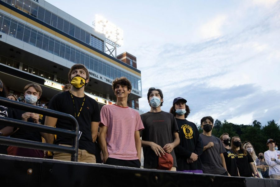 Matias Akers (far left), Cameron Greve (middle), Charles Traill (middle right) & Thomas Castain (far right) attended their freshman Black & Gold assembly in the front row.