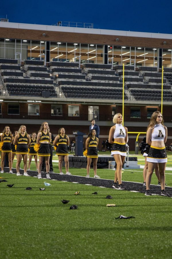 App State cheerleaders and dance team members kept the crowd engaged throughout the night.