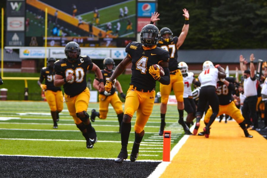 Running back Daetrich Harrington trots into the end zone en route to a 52-21 drubbing of Campbell. The senior enters the 2021 season as a member of one of the deepest running back cores in the country, which also features junior Camerun Peoples, sophomore Nate Noel and graduate transfer Jahmir Smith.