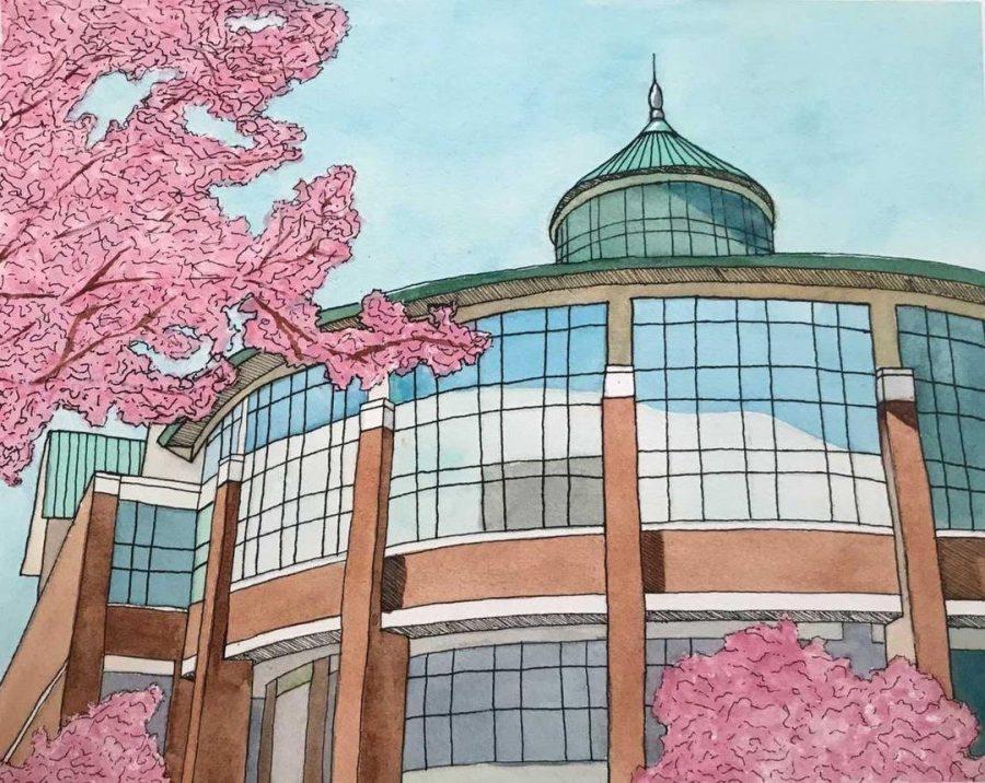Student entrepreneur Lauren Creed's artwork of Belk Library.