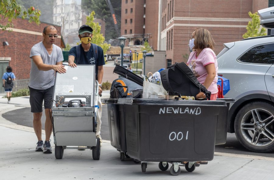Residence halls provide moving bins to new residents to ease the process of carrying many belongings into dorms.
