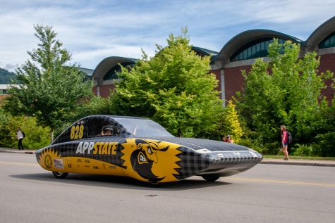 Team Sunergy made a celebratory lap down Rivers Street following their big win for American Solar Challenge that occurred on Aug. 7.