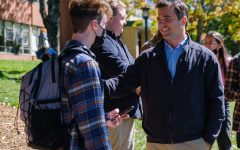 Senatorial candidate Jeff Jackson spoke one-on-one with people on campus before giving a speech and answering questions from students.