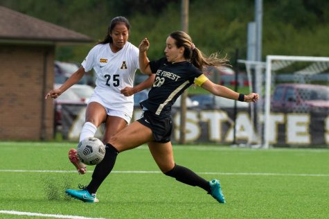 Freshman forward Stephanie Barbosa challenges Wake Forest's Sofia Rossi in a 2-0 defeat to the Demon Deacons. After starting the season on the bench, Barbosa has since started the past six games for the Mountaineers. The freshman has recorded two assists and taken seven shots, two of which were on goal.