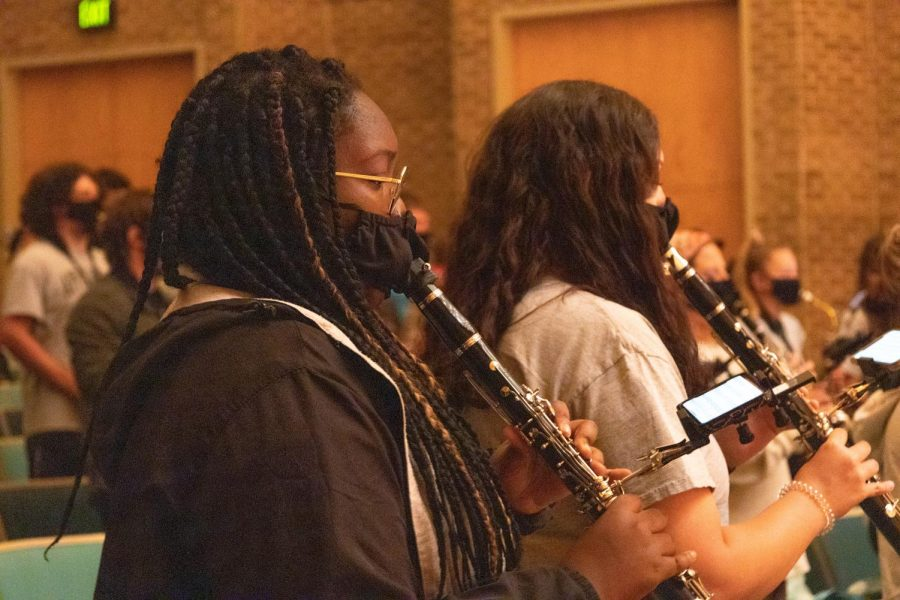 The Marching Mountaineers practice in Broyhill concert hall on rainy days to prepare the clarinets, flutes, and other brass instruments for upcoming home games Oct. 20 and 30.