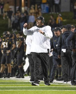 Head coach Shawn Clark coaches the Mountaineers to a late comeback victory against Marshall. App State defeated the Thundering Herd 31-30 behind 187 rushing yards from sophomore back Nate Noel and three touchdowns by junior back Cam Peoples.