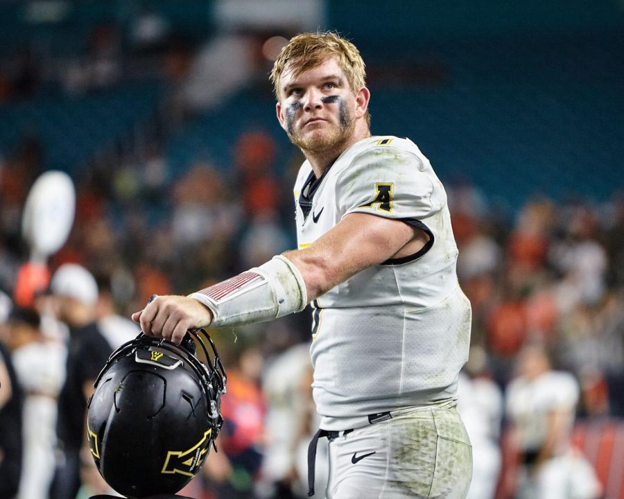 Quarterback Chase Brice looks to the stands during App State's Sept. 11 matchup against No. 22 Miami. The Mountaineers took the Hurricanes down to the wire, falling 25-23 after Miami drilled a 43-yard go-ahead field goal with two minutes to play.