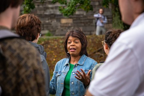 U.S. Senate candidate Cheri Beasley speaking to students on Sanford Mall during her campaign visit to App State.