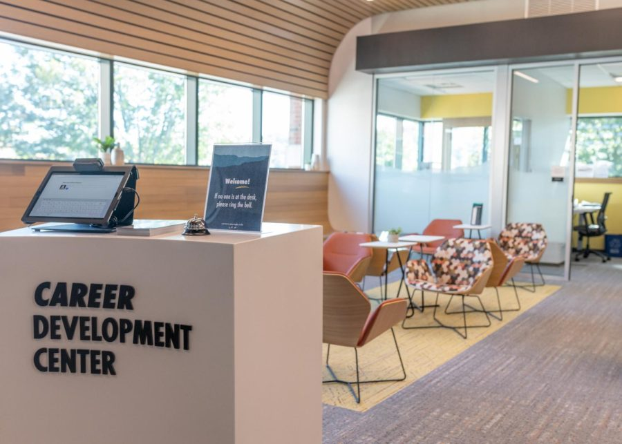 """The new Career Development Center in Plemmons Student Union can be found on the second floor near the Greek Life and SGA offices. Previously located in John E. Thomas Hall on Rivers Street, the center decided to create a new space so they could have """"a more accessible space on campus,"""" Parker said. """"We want people to know where we are."""""""